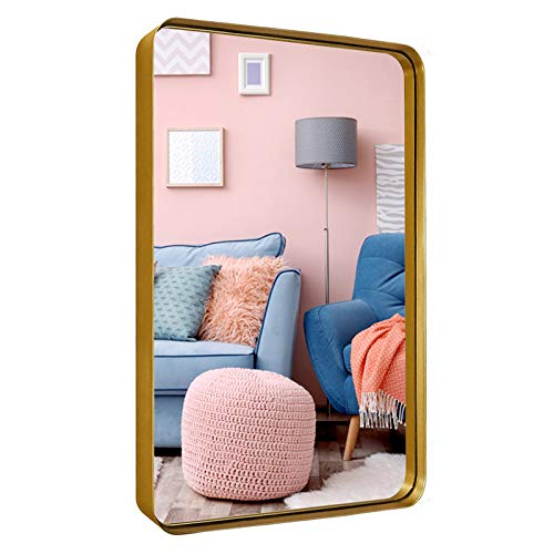Little kuku Wall Mirror Rectangular, 22″x30″ Bathroom Wall Mounted Mirror, Upgraded Metal Frame with Rounded Corner for Entryways, Living Rooms (Gold)