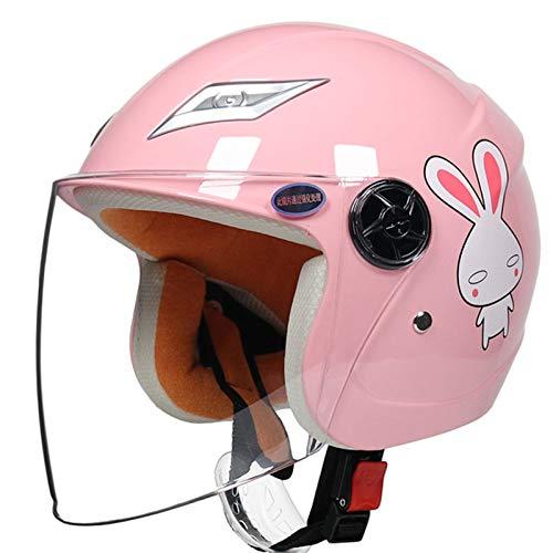Motorrad Half Helme, niedlichen Motorrad Helm für Kinder HD Sonnenvisier Winddicht Atmungsaktiv Leichte Kinder Motorrad Helme für Jungen Mädchen Baby 53-56cm,Rosa