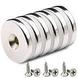 6 Stück Magnete, 12 KG Zugkraft, 30 x 5 mm Extrem Stark Neodym Scheiben Magnet mit Senkkopf Loch und Schrauben