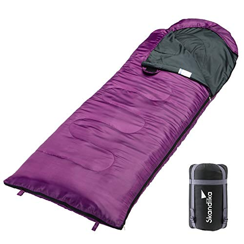 skandika Skye - Sac de Couchage Rectangulaire Couverture - 220x75 cm - Jumelable (Violet/Zip à Gauche)