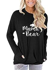 osazic Women Long Sleeve Round Neck Sweatshirt Pocket Pullover Loose Tunic Shirts Blouse Tops S-2XL