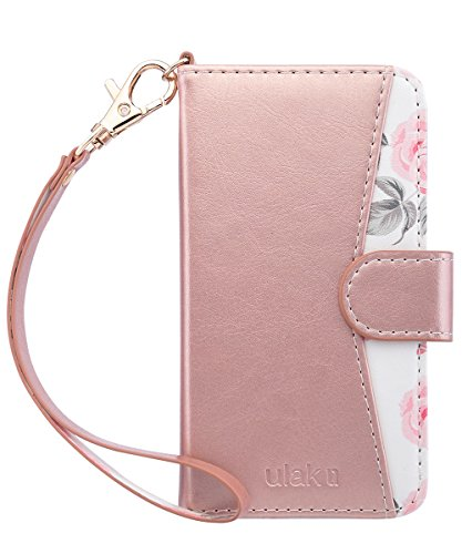 ULAK Wallet Case for Case for iPhone SE/iPhone 5S/iPhone 5, Premium PU Leather Case Kickstand Flip Folio Cover with ID/Credit Card Slots Wristlet Strap Shockproof for iPhone 5 5S/SE,Rose Gold Flower