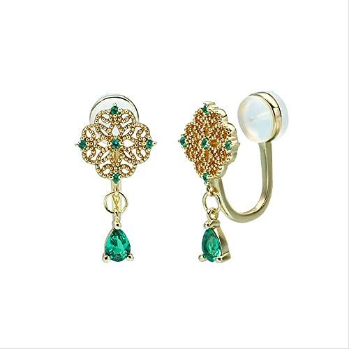 Pendientes de plata de ley 925, pendientes de botón de plata para mujer, pinchos de oreja perforados con esmeralda hueca retro, joyería elegante, estilo chino de moda