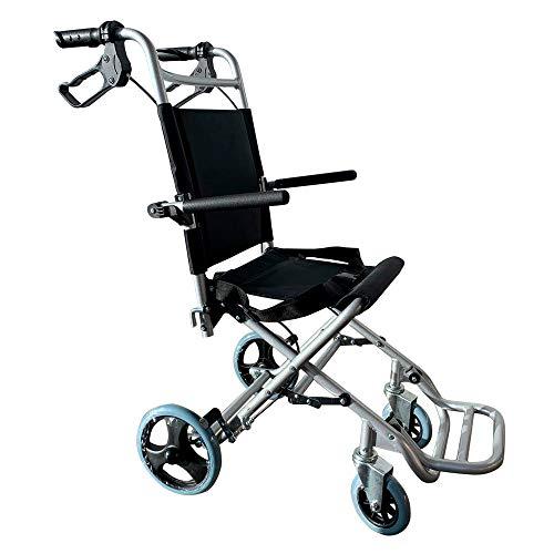 Mobiclinic, Neptuno, Silla de ruedas de tránsito para ancianos y minusválidos, plegable, aluminio, reposapiés y reposabrazos abatibles, asiento, ultraligera, frenos en manetas, negro