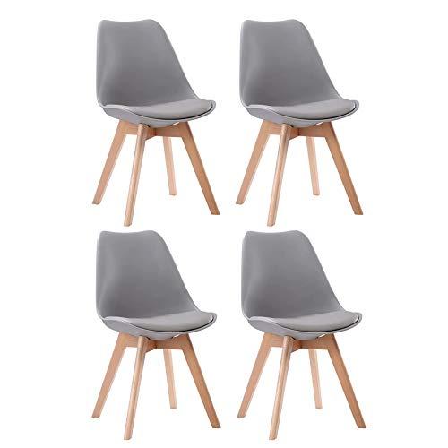 SENJA - Lot de 4 chaises scandinaves avec coussins d'assise et pieds en bois massif - GRISES