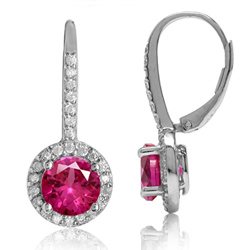 Silvershake 7mm Round Shape Simulated Red Ruby and White Cubic Zirconia 925 Sterling Silver Halo Leverback Earrings