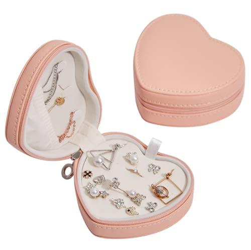 Aidou Caja de joyería de PU Love Jewelry Box Pendientes Anillo Contenedor de Joyería Organizador de Joyería Regalo para Novia, Mujer, Mujer, Esposa, Madre, Mujeres