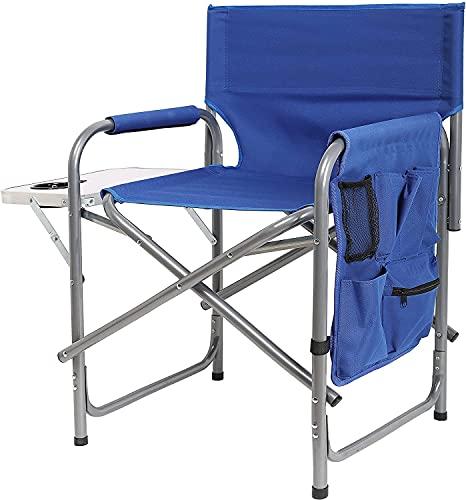 Ubon Silla de Camping Plegable con Estructura de Acero Silla de Director Portátil con Mesa Auxiliar y Bolsillos para Playa Deportes Pesca Capacidad de 300 Libras Azul OneSize