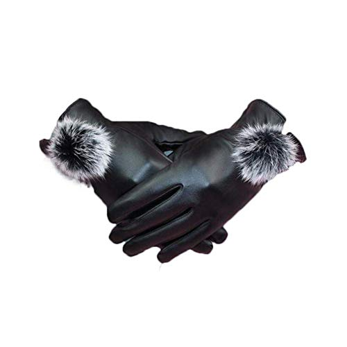 Women's Winter Leather Gloves, Full Finger Hair Ball Touch Screen Warm Black Thick Riding Gloves