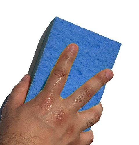 日本製 傷のつきにくい セルロース 洗車 スポンジ レギュラー 15.5×10×4.5cm 2個 セット ブルー