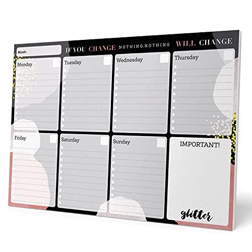 Planning da Tavolo Glitter Gold Dreams, con planner settimanale e 54 fogli a strappo, perfetto come agenda appuntamenti, 29,7x21 cm