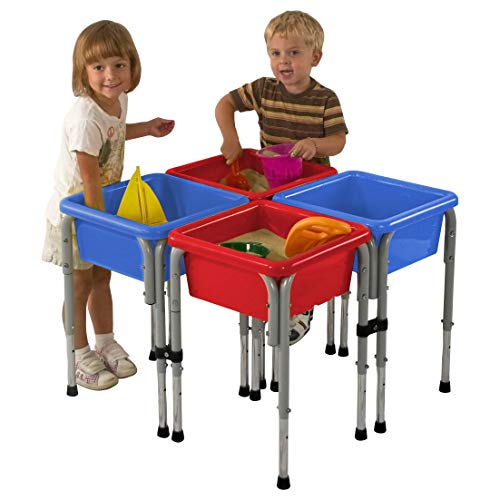 ECR4Kids - ELR-0799 Assorted Colors Sand and Water Adjustable Activity Play Table Center with Lids, Square (4-Station)