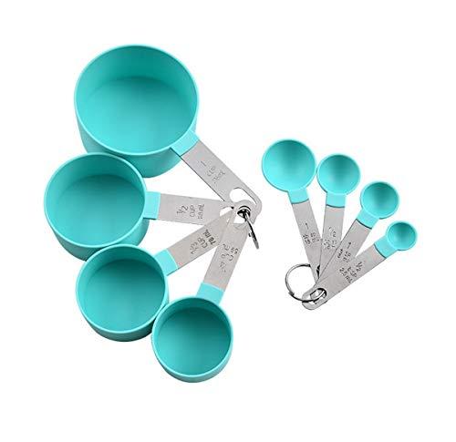 Kepfire Acier Inoxydable 8 Pieces Plastique Mesure Coupes Doseuse et Mesure Cuillères Empilable Mesure Ensemble Cuisine Tea Café Cuisine Accessoires - Vert