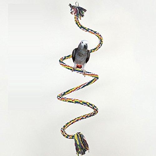 TickTocking coloré Rotation Corde en Coton Oiseau Perchoir Jouet à mâcher pour Perroquet Africain Greys Ara Éclectus cacatoès Alexandrine Amazon Cage balançoire avec clochettes