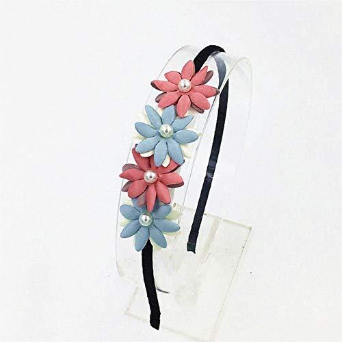 Miner Pearl Flower Hairband Hair Accessories Flower Hairbands Cute Hair Hoop Princess Head Band for Girls Headband Hair Accessories,Sky Blue