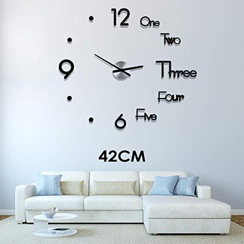 Maliyaw - Moderno Reloj de Pared 3D, Adhesivo de acrílico, Adhesivo Decorativo para el hogar, la Oficina, el salón, Negro, 42 cm