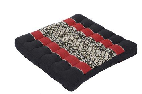 Handelsturm Thai Sitzkissen 37 x 37 x 6 cm, Kissen Auflage mit hochwertiger Füllung aus Kapok, festes Stuhlkissen schwarz-rot als Auflage für Stühle, Bänke oder als Bodenkissen