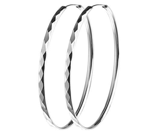 1 Paar Creolen, Ohrringe Durchmesser 60mm - 925 Silber