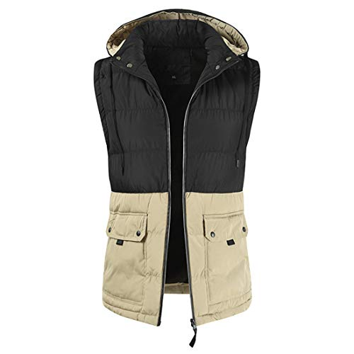 Mens Fashion with Hooded Long Sleeve Color Matching Patchwork Zipper Warm Down Thicken Jacket Vest with Pockets XXL