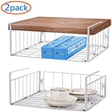 Simple Trending Under Cabinet Organizer Shelf, 2 Pack Wire Rack Hanging Storage Baskets for Kitchen Pantry, White