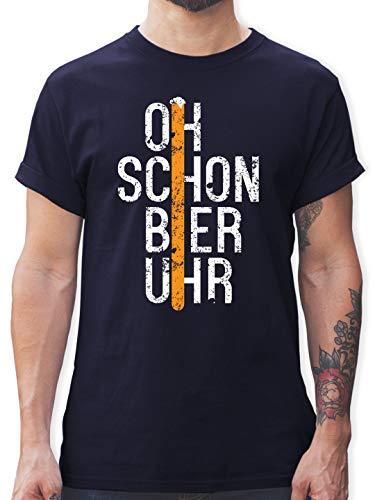 Oktoberfest & Wiesn Herren - Oh Schon Bier Uhr Schrift - XL - Navy Blau - Tshirt schwarz Schrift - L190 - Tshirt Herren und Männer T-Shirts