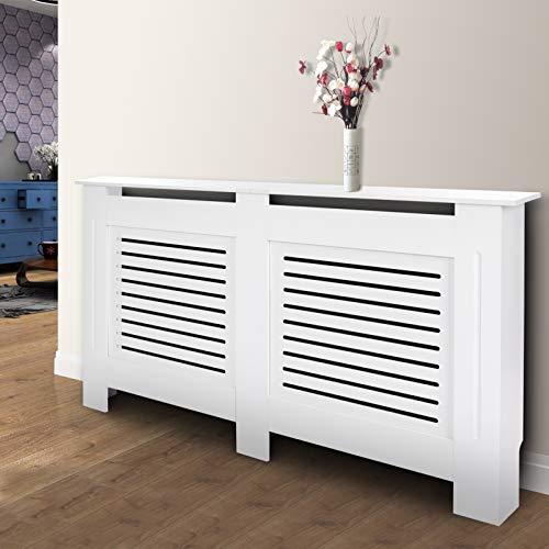 Radiator Covers, Medium Modern Slatted Grill Slats White Painted MDF Cabinet, Wood Top Shelf Radiator Cover, Slatted Cabinet Storage Heater Cover for Living Room Bedroom Hallway, 81x111x19cm