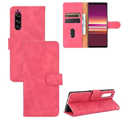 TOPOFU Sony Xperia 5 II Hülle,Retro Flip Lederhülle Wallet Schutzhülle mit Kartensteckplätze,Magnetverschluss,Ständer Handyhülle für Sony Xperia 5 II-Rot