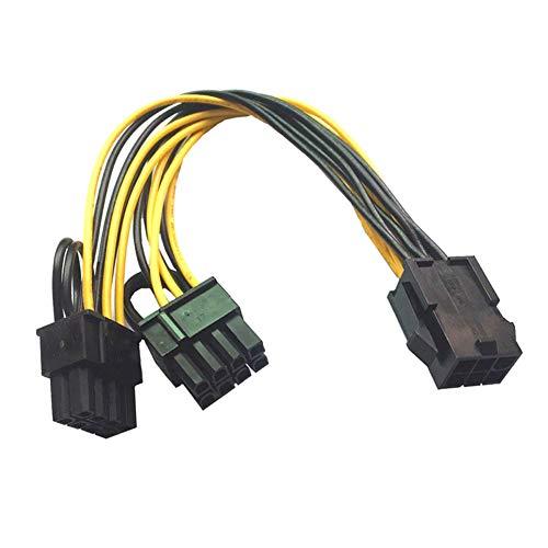 R01S Grafikkarten Stromadapter 6pin PCIe auf 2x 8pin (6+2) PCI-Express Adapter, 6-Pin PCIe weiblich auf 2x 6+2-Pin PCIe männlich, PCI Express Stromkabel 18cm Kabellänge