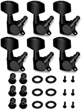 Metallor Sealed String Tuning Pegs Tuning Keys Machines Heads Tuners 6 In Line Right Handed Electric Guitar Parts Replacement. (Black)