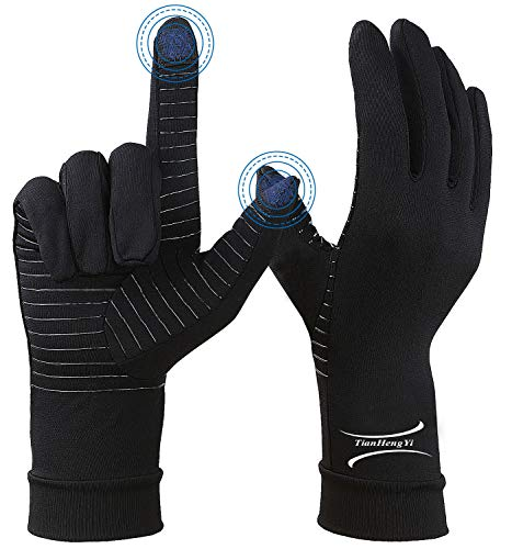 2 Pairs Arthritis Gloves, Copper Compression Full Finger Arthritis Gloves for Men & Women, Touch Screen Hand Gloves for Carpal Tunnel, RSI,Computer Typing & Everyday Support (Black, Medium (2 Pairs))