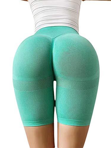 Chollius Pantalones Yoga Mujer Pantalones Cortos Deportivos Melocotón con Forma Glúteos Anticelulíticos Mallas Cintura Alta Mallas Gimnasio Elásticas Altas Moda Secado Rápido (Verde, M)