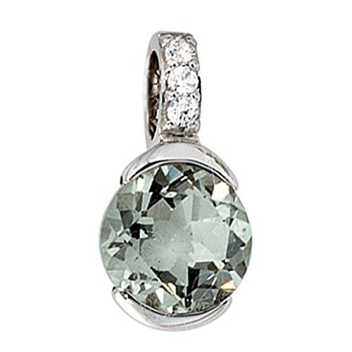JOBO Damen-Anhänger aus 585 Weißgold mit Amethyst und 3 Diamanten
