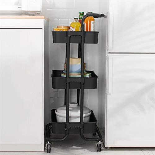 Carros de almacenamiento Carrito de la carretilla rodante, carro de almacenamiento de 3 niveles móvil con cesta de almacenamiento y cangecas colgantes Productos para bebés Push Almacenamiento Rack Hac