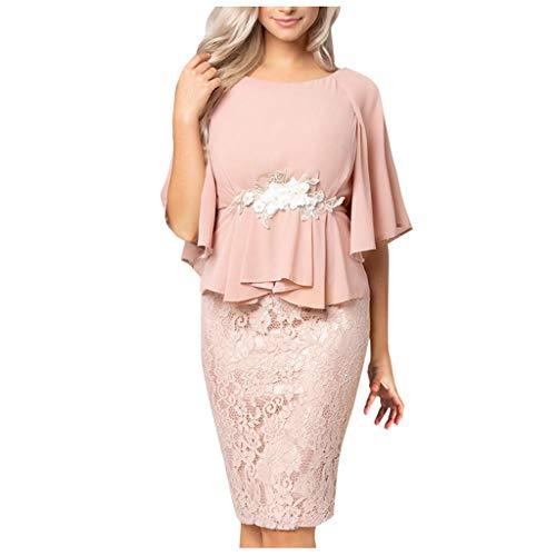 Vrouwen Elegante Chiffon Jurk Dames Bell Sleeve Kant Patchwork Peplum Schede Jurk met Appliqued Taille