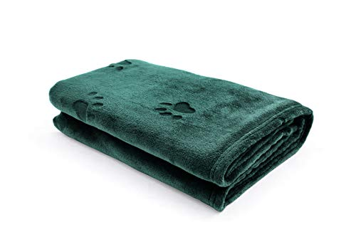 """YINXUE 2 Pack Soft Pet Flannel Blanket with Cute 3D Paw Design, 30"""" x 40"""" Warm Dog Cat Sleep Mat Bed Cover (Dark Green) Review"""