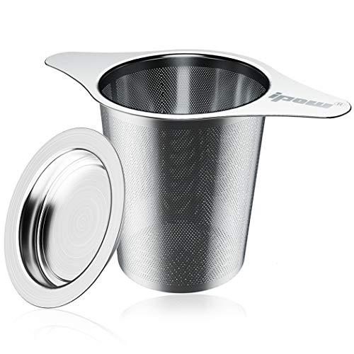 IPOW Teefilter Teesieb mit 2 Griffe und Deckel/Abtropfschale aus 304 Edelstahl, Passend für die Meisten Tee-Tassen Tee-Kanne von 48 bis 120mm