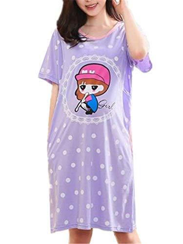 Embarazadas Mujer Verano Medias Mangas Ropa Premama V-Cuello Camisones Elegantes Modernas Casual Fashion Anchas Casuales Cómodo Vestido Premama Camisón Vestido (Color : Purple1, Size : M)