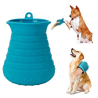 Cebese Dog Paw Cleaner Cup, 2 in 1 Portable Pet Foot Plunger Washer with Hook & Soft Silicone Bristles Grooming Brush for Medium Large Breed Doggy Puppy Cats Massage Bathing Cleaning Muddy Dirty Claw