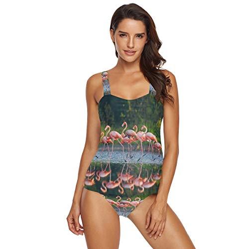 Emoya Damen Tankini Set Karibik Flamingos Badeanzug Bikini 2-teilig Gr. XXL, Multi