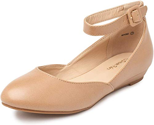 DREAM PAIRS Women's Revona Nude Pu Low Wedge Ankle Strap Flats Shoes - 8.5 B(M) US