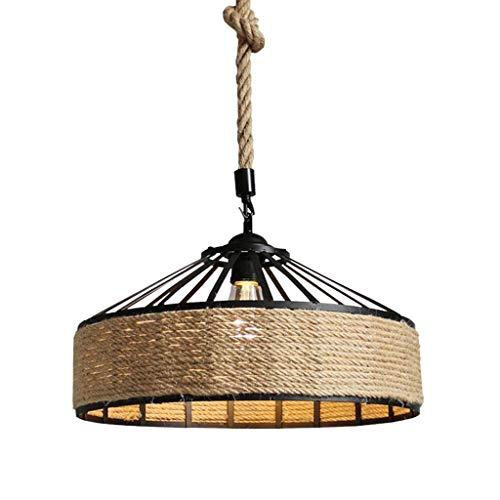 Ciondolo vintage , Luce antico industriale in ferro corda di canapa Metallo 1-luce E27 Lampada Presa Lampada a sospensione retrò Personalità Marrone Rustico Altezza regolabile Illuminazione