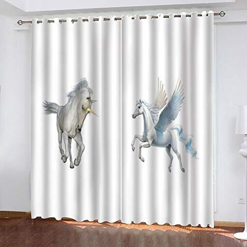 WLHRJ Cortina Opaca en Cocina el Salon dormitorios habitación Infantil 3D Impresión Digital Ojales Cortinas termica - 183x160 cm - Ángel Animal Caballo