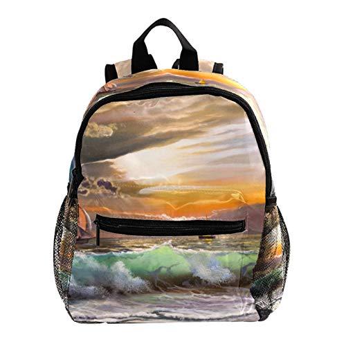 Kids Backpack Children Bag Cartoon Rucksack for Preschool Boys Girls Toddler Kindergarten Canvas Sailboat Against a Background of sea Sunset