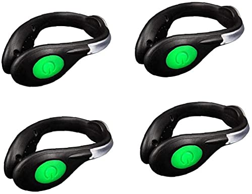 practical Led Shoes Clip Lights 4-pack High Visibility Led Ankle Lights Safety Led Reflective Gear Clip Lights for Running Hiking Cycling Jogging Portable (Color : Green)