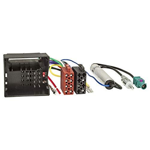 tomzz Audio 7057-001 Câble Adaptateur autoradio Compatible pour Audi Skoda Seat VW Quadlock vers ISO+ Adaptateur d'antenne avec Alimentation fantôme Fakra vers DIN