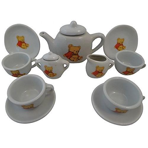 Puppen-Teeservice   Kinder-Kaffeeservice aus Porzellan PW 2175   Teddy-Bären-Design   mit Tablett, Kanne, Tassen und Teller  Holzspielzeug-Peitz