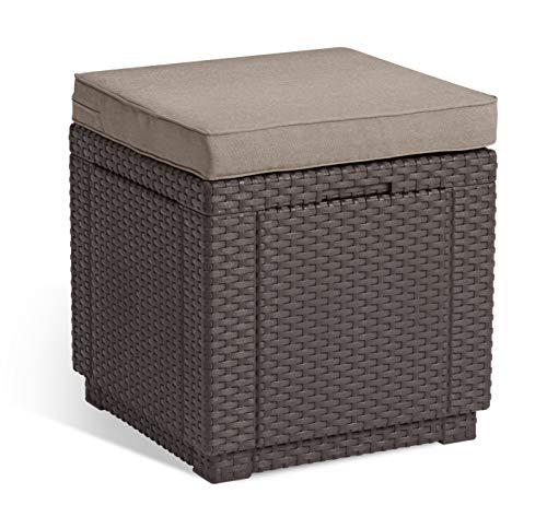 Allibert Cube w/Cushion Taburete, marrón/Pardo (cojín de algodón sintético)