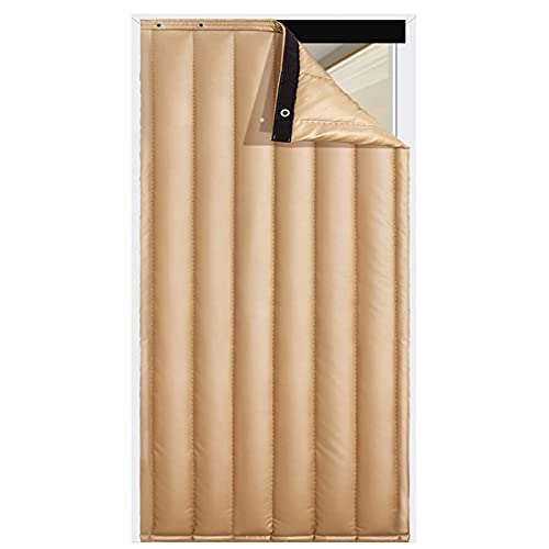 Thermal Door Curtains Heavy Duty Drapes Screens Cotton Lined Curtain for Door Windows Waterproof PU Cover Golden (Color : A Size : 100x230cm)