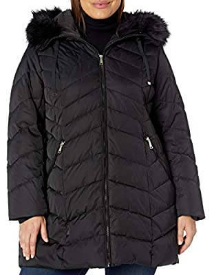 TAHARI Women's Size Heavy Weight Puffer Coat with Faux Fur Hood, Plus Black, 1X