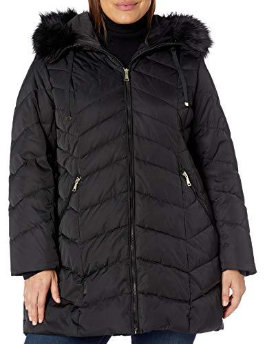 TAHARI Women's Size Heavy Weight Puffer Coat with Faux Fur Hood, Plus Black, 1X